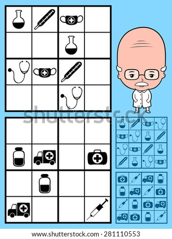 Kids sudoku puzzle using black silhouettes of medical icons on a square grid to stimulate the intelligence as educational entertainment, vector design with two variations, a cartoon doctor and answers - stock vector