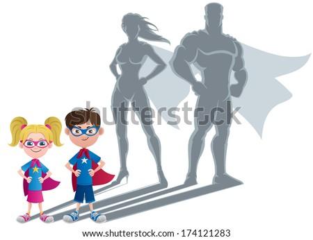 Kids Superhero Concept: Conceptual illustration of little children with superhero shadows.  - stock vector