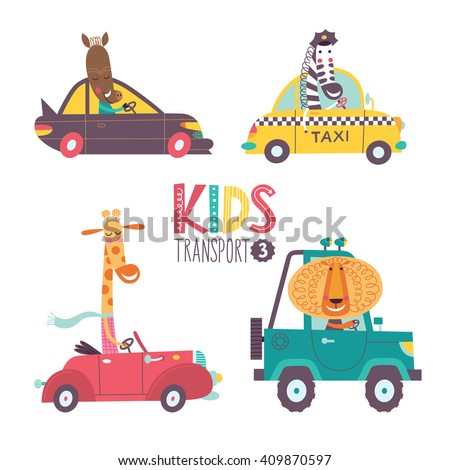 Kids transport collection with cute animals. Part 3. Vector illustration on a white background. Car, taxi, cabriolet - stock vector