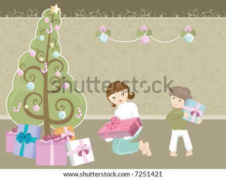 Kids unwrapping Christmas gifts - stock vector