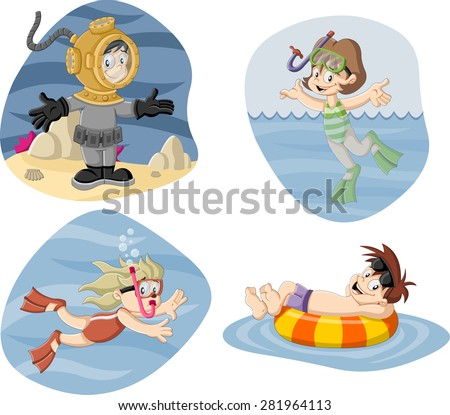 Kids wearing Scuba diving suit. Cartoon divers. - stock vector