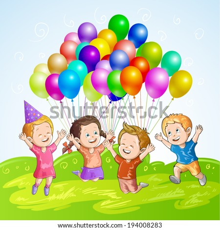 Kids with balloons - stock vector