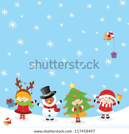 Kids With Christmas Costume - stock vector