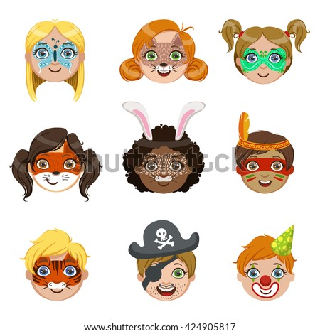 Kids With Painted Faces Portraits Collection Of Bright Color Cartoon Childish Style Flat Vector Drawings Isolated On White Background - stock vector