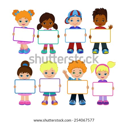 Kids with Signs. Bricht Kids .Frame Board. Clipart. Child meeting frame white board. - stock vector