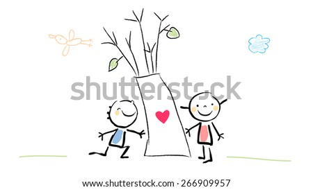 Kids with tree, heart sign. Cute Love concept vector illustration, childhood style drawing. Doodle, sketch.  - stock vector