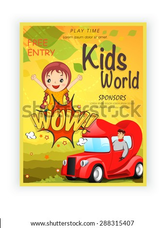 Kids World template, banner or flyer design with illustration of little girl on yellow background. - stock vector