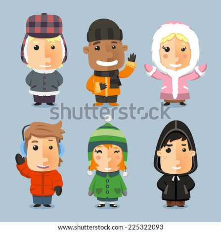 Kids wrapped up with Winter Cloth Sheltered, with mad bomber, beanie hat, boot, pants, knit hat, - stock vector