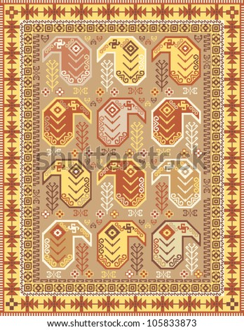 Kilim-style carpet design in soft colors with traditional boteh motif - stock vector