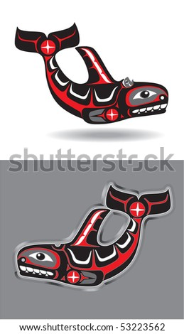 Killer Whale in Native American Style - stock vector