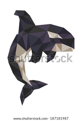 killer whale polygonal vector - stock vector