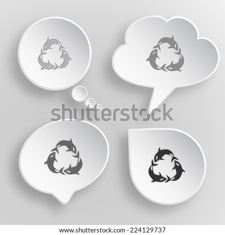 Killer whale. White flat vector buttons on gray background. - stock vector