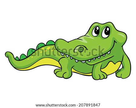Kind crocodile, vector illustration on white background - stock vector