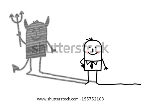kind man with devil shadow - stock vector