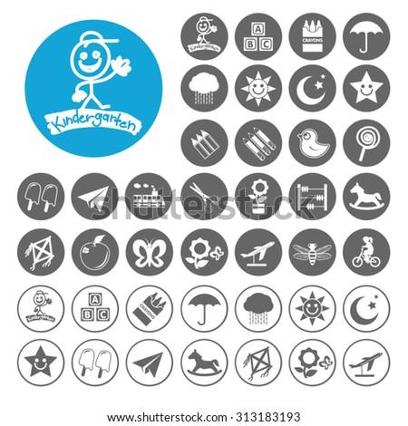 Kindergarten icons set. Illustration EPS10 - stock vector