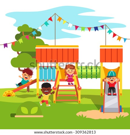 Kindergarten outdoor park playground slide with playing kids. Flat style cartoon vector illustration with isolated objects. - stock vector