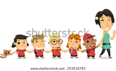 Kindergarten preschool children walking holding hands with teacher, vector illustration cartoon - stock vector