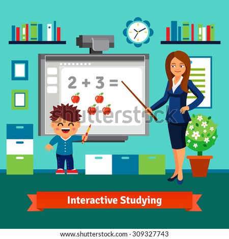 Kindergarten teacher woman teaching boy elementary mathematics with an interactive board. Private tutor studying. Flat style cartoon vector illustration with isolated objects. - stock vector