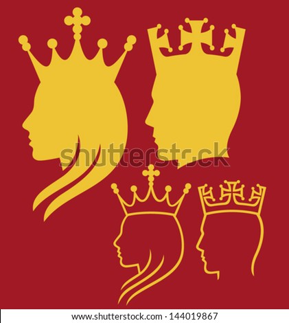 king and queen heads (king and queen face man, silhouette head of a king and queen) - stock vector
