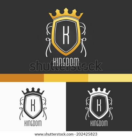 King Crest Ornament Template. Vector Elements. Brand Icon Design Illustration. EPS10 - stock vector