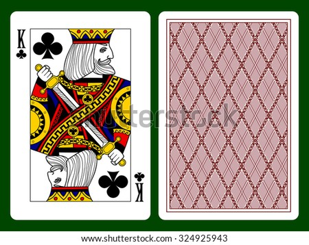 King of clubs playing card and backside background. Faces double sized. Original design. Vector illustration - stock vector