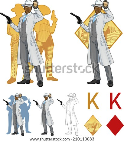 King of diamonds African American police chief shows his badge with a gun and people silhouettes retro styled comics card character set of illustrations with black lineart - stock vector