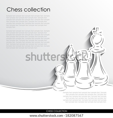 King, rook, bishop and pawn abstract silhouette on white paper background. Chess vector collection. - stock vector