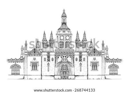 King's college main entrance gate. Cambridge. Sketch collection - stock vector