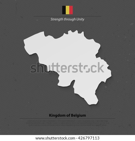 Kingdom of Belgium isolated map and official flag icon. vector Belgian political map 3d illustration. Europe Union geographic banner template. travel and business, politics concept maps - stock vector