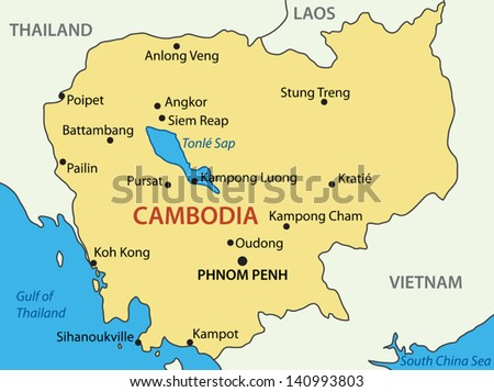 Kingdom of Cambodia - vector map - stock vector
