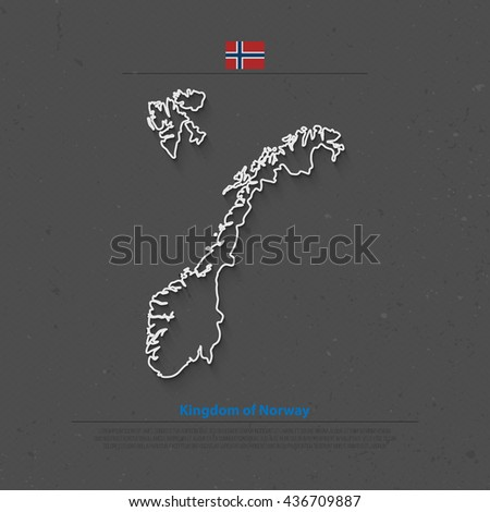 Kingdom of Norway isolated map and official flag icons. vector Norwegian political map thin line icon. Scandinavian Country geographic banner template. travel and business concept maps - stock vector