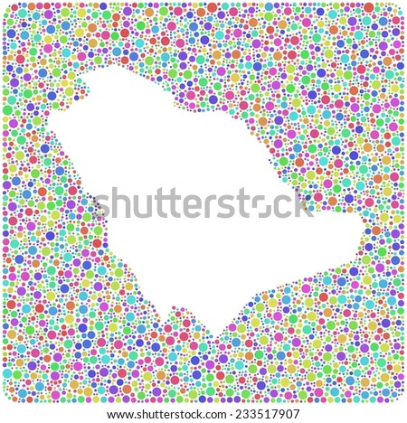 Kingdom of Saudi Arabia (mosaic of harlequin little circles) - stock vector