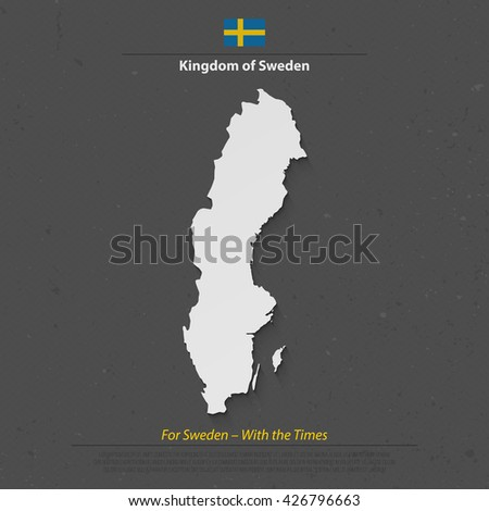 Kingdom of Sweden isolated map and official flag icon. vector Swedish political maps 3d illustration. Swede geographic banner template. travel and business concept map - stock vector