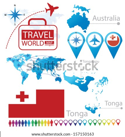 Kingdom of Tonga. Australia. flag. World Map. Travel vector Illustration. - stock vector