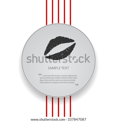 Kiss lips flat vector icon for apps and websites - stock vector
