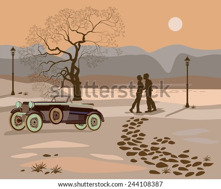 Kissing couple in the park at night . Vector - stock vector