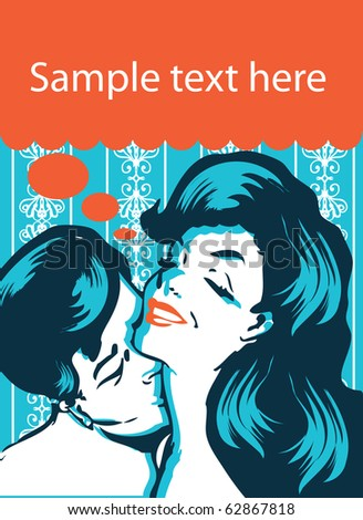 Kissing Couple retro vintage style - stock vector