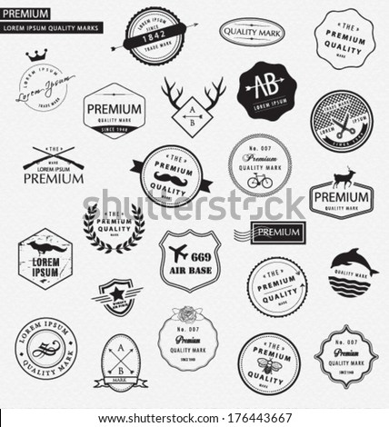 KIT COLLECTION OF PREMIUM DESIGN ELEMENTS. For your graphic projects, print and internet. Frames, dividers, elements such as logos. Editable vector illustrator file. - stock vector