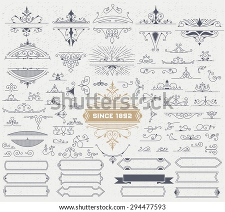 Kit of Vintage Elements for Invitations, Banners, Posters, Placards, Badges or Logotypes. - stock vector