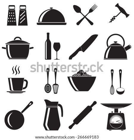 Kitchen and cooking icons set: pans, wine bottle and glass, spoon, fork, knife, kettle, cup. Vector illustration isolated on white background. - stock vector