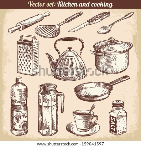 Kitchen And Cooking Set Vector - stock vector