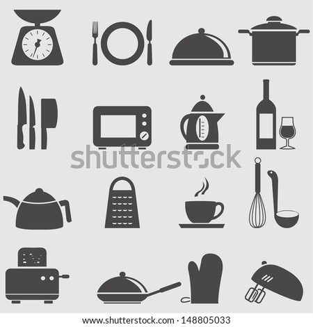 Kitchen and household Utensil Icons set.Vector  - stock vector