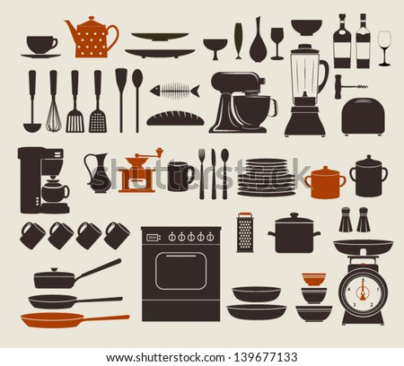 Kitchen Appliances, Utensils and Icons - Set of kitchen icons, including stove, pots, frying pens, bowls, dishes and various utensils - stock vector