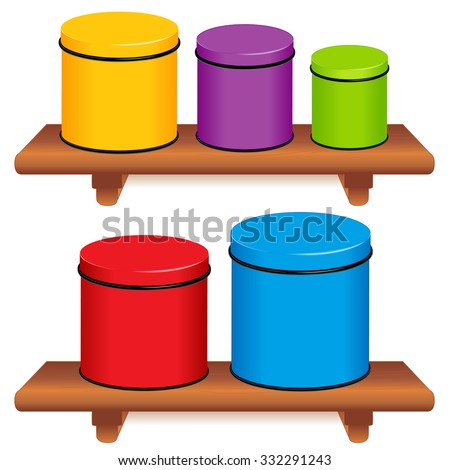 Kitchen Canister Set. Five multi color food storage containers with lids in small, medium and large sizes on wood shelves. Isolated on white background. EPS8 compatible. - stock vector