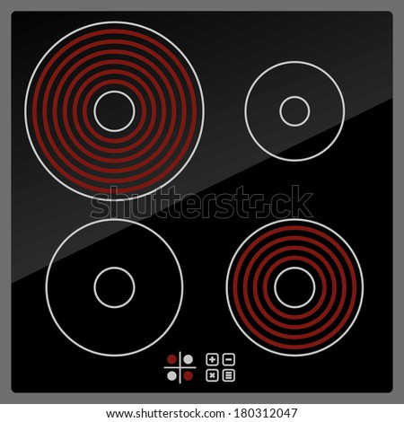 Kitchen Electric hob with ceramic surface and touch control panel - stock vector