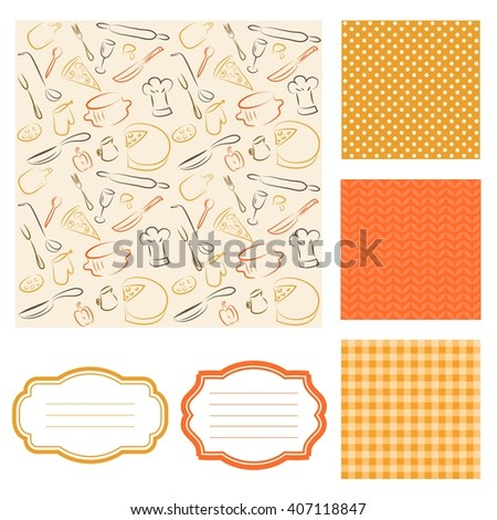 kitchen elements background and frames - stock vector