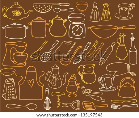 Kitchen elements drawing vector - stock vector