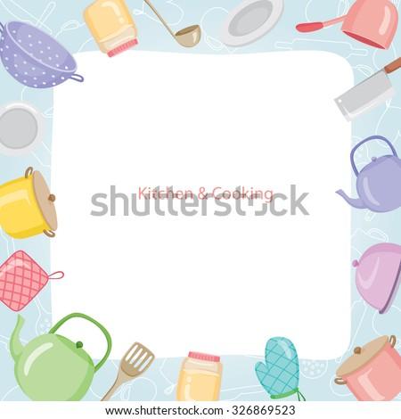 Kitchen Equipment Border, Kitchen, Kitchenware, Crockery, Cooking, Food, Bakery, Lifestyle - stock vector