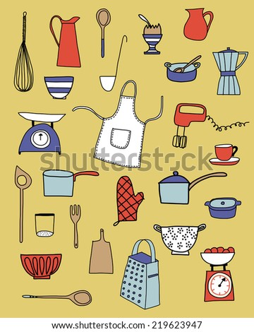 Kitchen equipment isolated vector hand drawn doodle icons in red, white and blue on a neutral yellow background - stock vector