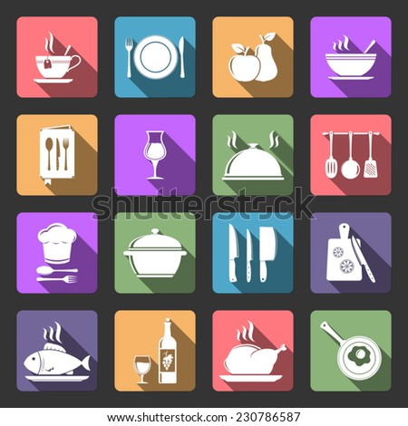 Kitchen flat icons with long shadow - stock vector